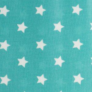 Coupon toile enduite 46x60 cm - vert d'eau étoiles blanches