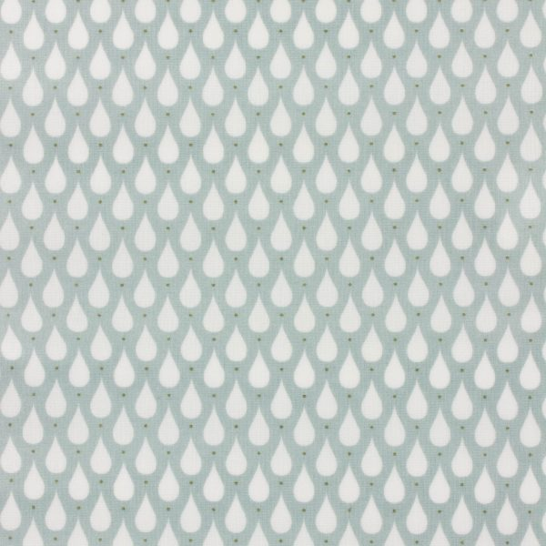 Coupon toile enduite 46x60 cm - vert clair gouttes d eaux