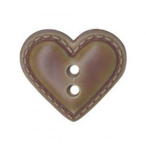 Bouton enfant forme cœur façon cuir vert 12mm - 408 22367 12 26
