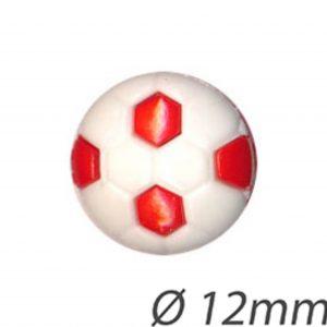 Bouton enfant  ballon de foot rouge 12mm - 408 24025 12 09