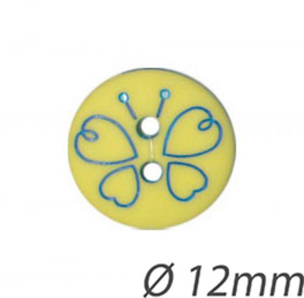 Bouton papillon 2 trous vert 12mm - 408 24409 12 12