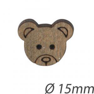 Bouton enfant tête d'ours en bois 15mm - 408 24453 15 05