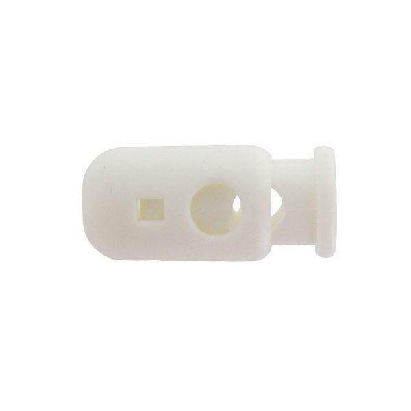 Arrêt cordon cylindre blanc trou de 5mm