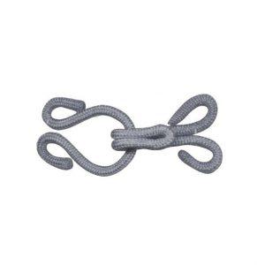 Crochet fourrure recouvert gris 15x35mm