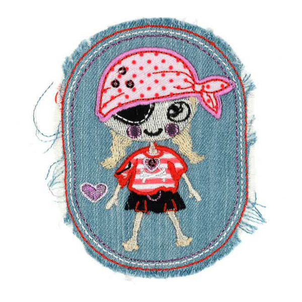 Pirate fille jeans clair 7,5cmx9,5cm