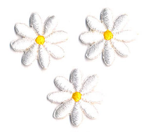 Thermocollant fleurs blanches 2 x 2 cm