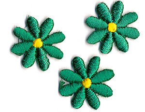 Thermocollant fleurs vertes 2 x 2 cm