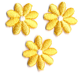 Thermocollant fleurs jaunes  2 x 2 cm