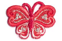 Thermocollant papillon rouge 2 x 3 cm