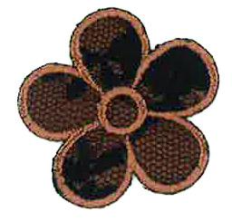 Thermocollant fleur dentelle marron