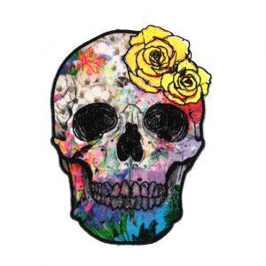 Thermocollant tête de mort de couleur (11cmx8cm)
