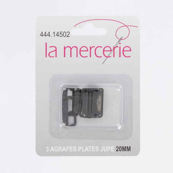 Agrafe plate jupe 20mm noir x3