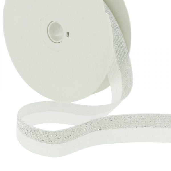 Elastique lurex bicolore blanc argenté  20mm