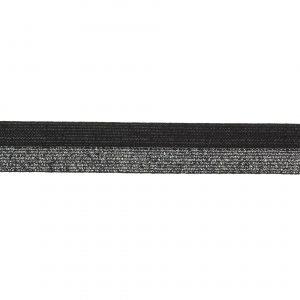 Elastique lurex bicolore noir argenté 20mm