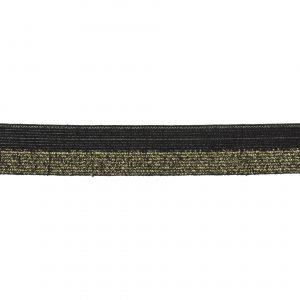 Elastique lurex bicolore noir doré 20mm