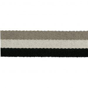 Sangle noir/écru/beige 38mm 100% polyester