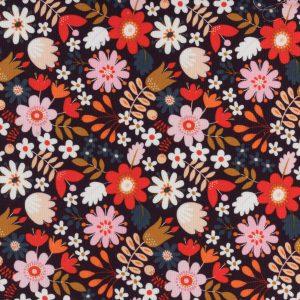 Tissu dashwood velours Corduroy fleurs 150cm 100% coton