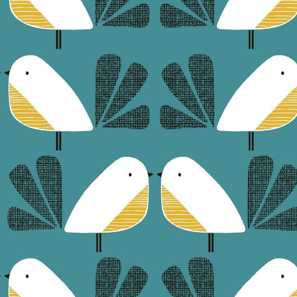 Tissu Dashwood Nesting Birds bleu 110 cm au mètre