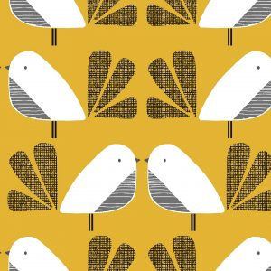 Tissu Dashwood Nesting Birds jaune 110 cm au mètre