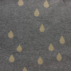 Tissu Jacquard DROPS BIO gris/lurex doré 150cm