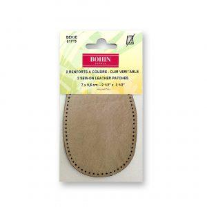 Renfort  7x9,5cm cuir à coudre x2 beige