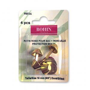 Patin rond pour sac+rondelle 15mm doré x4