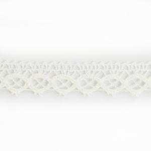 Dentelle 100% Coton 12mm blanc au mètre