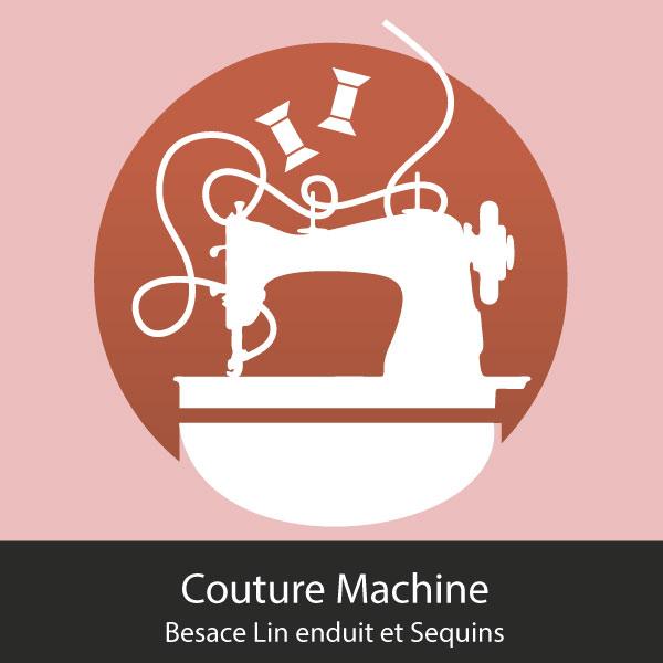 atelier couture machine à Orléans: besace lin enduit et sequins